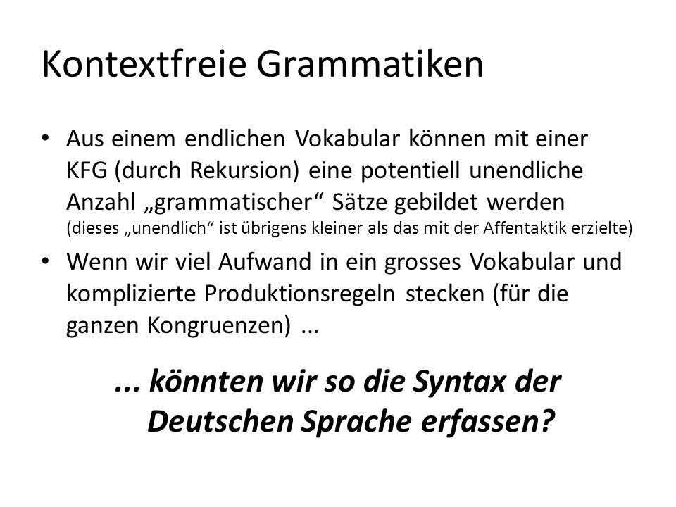 Kontextfreie Grammatiken Aus einem endlichen Vokabular können mit einer KFG (durch Rekursion) eine potentiell unendliche Anzahl grammatischer Sätze ge