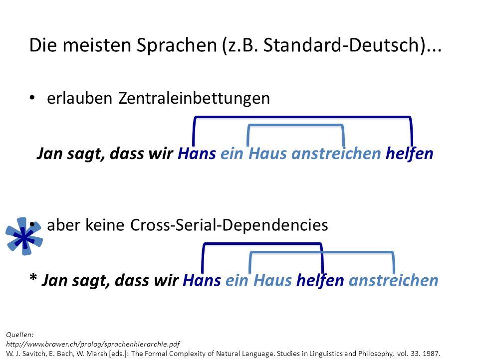 * * erlauben Zentraleinbettungen Jan sagt, dass wir Hans ein Haus anstreichen helfen Die meisten Sprachen (z.B. Standard-Deutsch)... aber keine Cross-