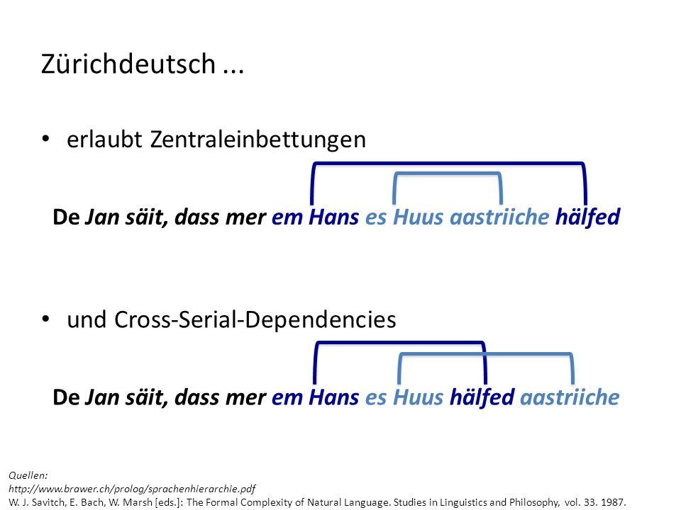 erlaubt Zentraleinbettungen De Jan säit, dass mer em Hans es Huus aastriiche hälfed Zürichdeutsch... und Cross-Serial-Dependencies De Jan säit, dass m