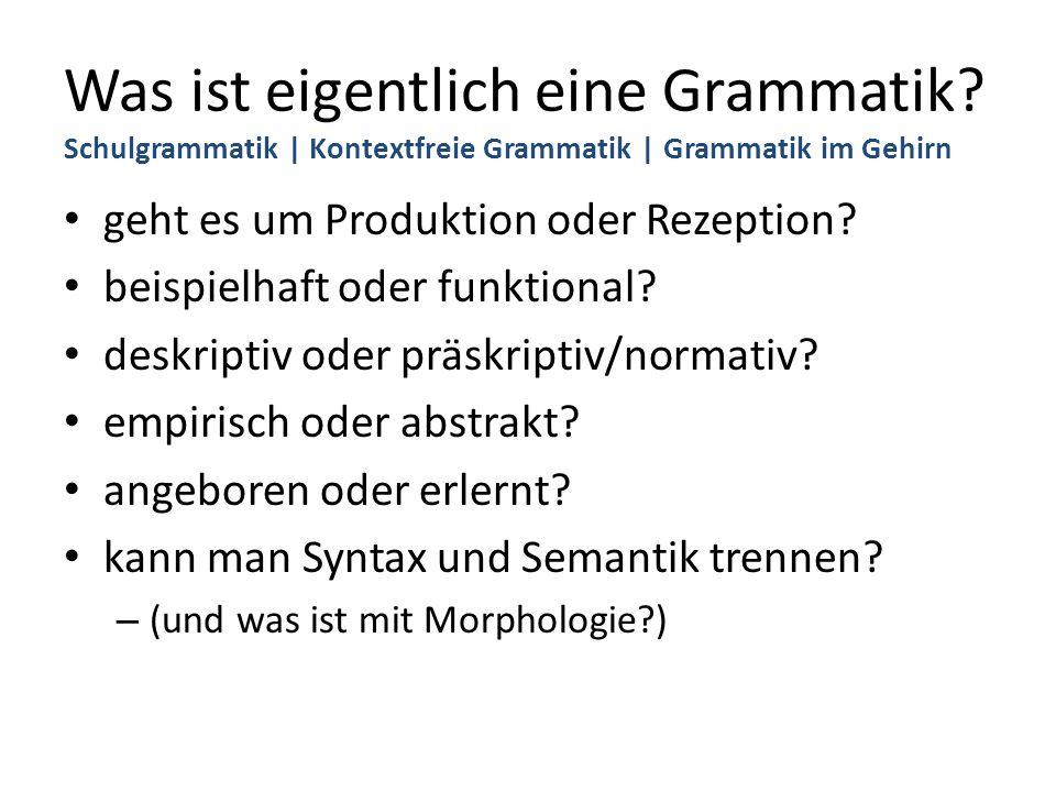 Was ist eigentlich eine Grammatik? Schulgrammatik | Kontextfreie Grammatik | Grammatik im Gehirn geht es um Produktion oder Rezeption? beispielhaft od