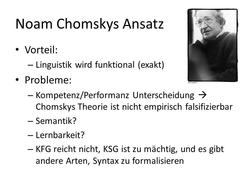 Noam Chomskys Ansatz Vorteil: – Linguistik wird funktional (exakt) Probleme: – Kompetenz/Performanz Unterscheidung Chomskys Theorie ist nicht empirisch falsifizierbar – Semantik.