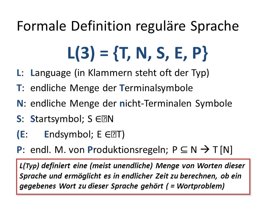 Formale Definition reguläre Sprache L(3) = {T, N, S, E, P} L: Language (in Klammern steht oft der Typ) T: endliche Menge der Terminalsymbole N: endliche Menge der nicht-Terminalen Symbole S: Startsymbol; S N (E: Endsymbol; E T) P: endl.