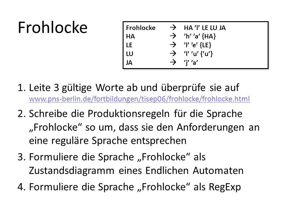 Frohlocke 1.Leite 3 gültige Worte ab und überprüfe sie auf www.pns-berlin.de/fortbildungen/tisep06/frohlocke/frohlocke.html www.pns-berlin.de/fortbildungen/tisep06/frohlocke/frohlocke.html 2.Schreibe die Produktionsregeln für die Sprache Frohlocke so um, dass sie den Anforderungen an eine reguläre Sprache entsprechen 3.Formuliere die Sprache Frohlocke als Zustandsdiagramm eines Endlichen Automaten 4.Formuliere die Sprache Frohlocke als RegExp Frohlocke HA l LE LU JA HA h a {HA} LE l e {LE} LU l u {u} JA j a Frohlocke HA l LE LU JA HA h a {HA} LE l e {LE} LU l u {u} JA j a