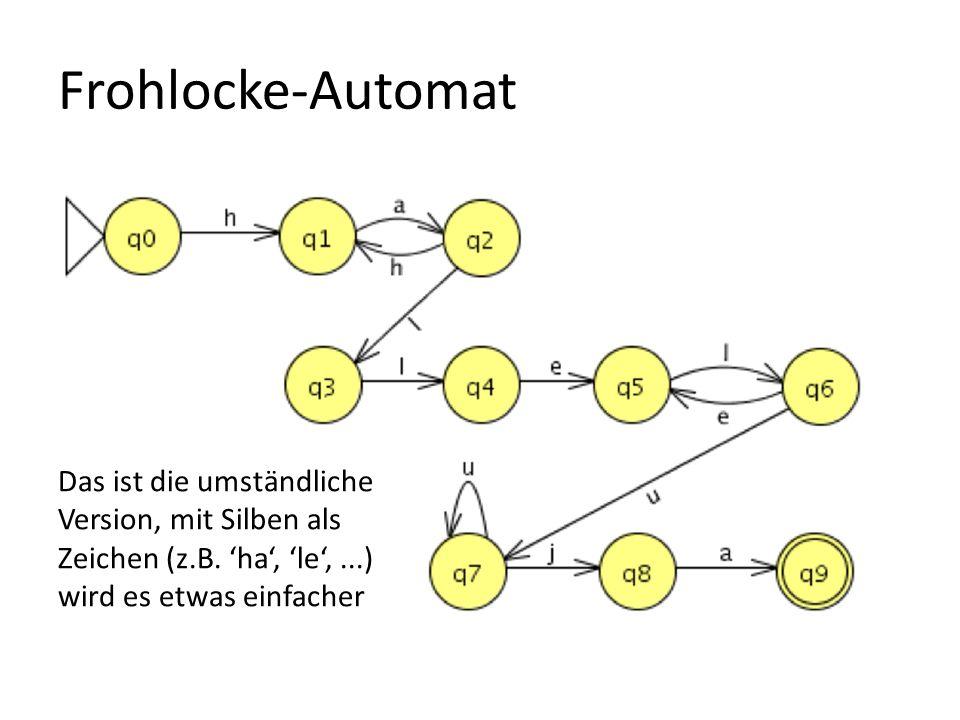 Frohlocke-Automat Das ist die umständliche Version, mit Silben als Zeichen (z.B. ha, le,...) wird es etwas einfacher