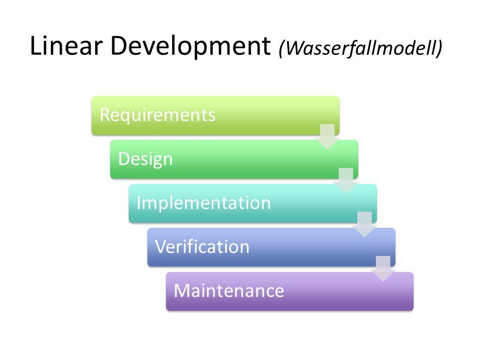 Linear Development (Wasserfallmodell) RequirementsDesignImplementationVerificationMaintenance
