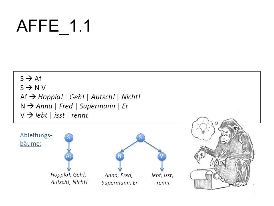 AFFE_1.1 S Af S N V Af Hoppla! | Geh! | Autsch! | Nicht! N Anna | Fred | Supermann | Er V lebt | isst | rennt S S Af Hoppla!, Geh!, Autsch!, Nicht! S