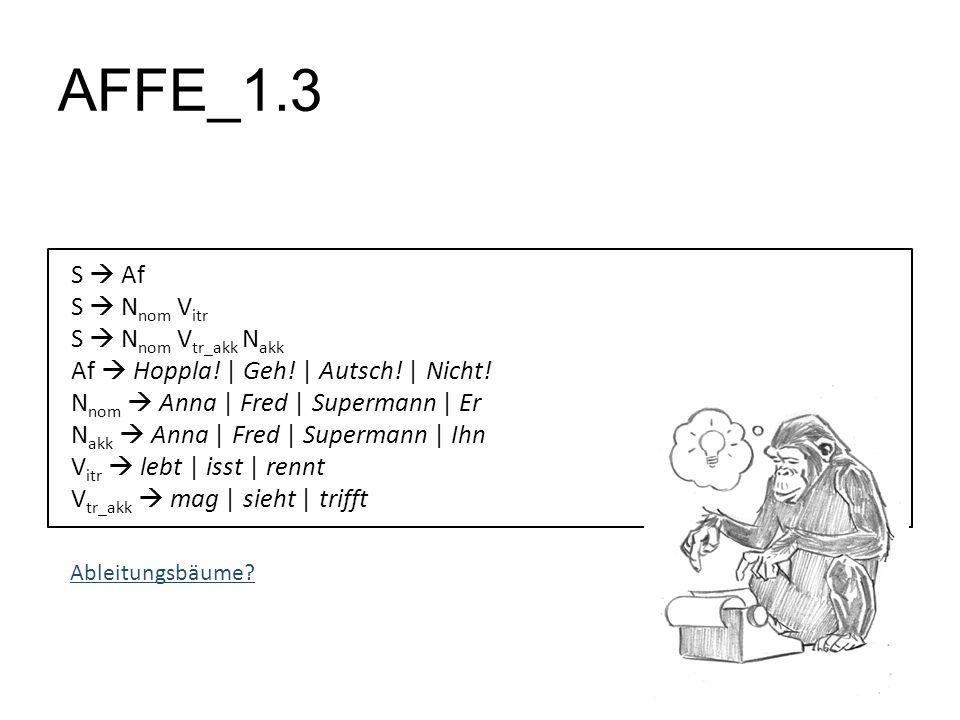 AFFE_1.3 S Af S N nom V itr S N nom V tr_akk N akk Af Hoppla! | Geh! | Autsch! | Nicht! N nom Anna | Fred | Supermann | Er N akk Anna | Fred | Superma