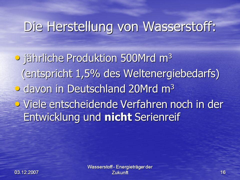 03.12.2007 Wasserstoff - Energieträger der Zukunft16 Die Herstellung von Wasserstoff: jährliche Produktion 500Mrd m 3 jährliche Produktion 500Mrd m 3 (entspricht 1,5% des Weltenergiebedarfs) (entspricht 1,5% des Weltenergiebedarfs) davon in Deutschland 20Mrd m 3 davon in Deutschland 20Mrd m 3 Viele entscheidende Verfahren noch in der Entwicklung und nicht Serienreif Viele entscheidende Verfahren noch in der Entwicklung und nicht Serienreif