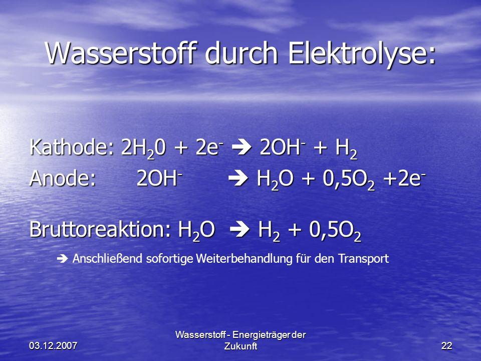 03.12.2007 Wasserstoff - Energieträger der Zukunft22 Wasserstoff durch Elektrolyse: Anschließend sofortige Weiterbehandlung für den Transport Kathode: 2H 2 0 + 2e - 2OH - + H 2 Anode: 2OH - H 2 O + 0,5O 2 +2e - Bruttoreaktion: H 2 O H 2 + 0,5O 2