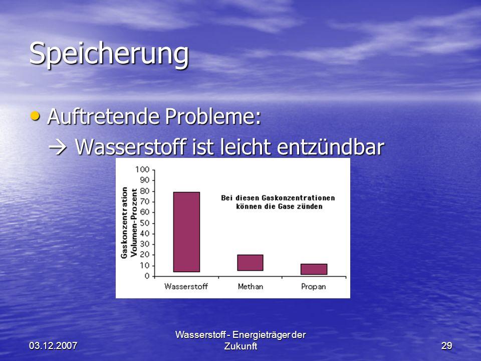03.12.2007 Wasserstoff - Energieträger der Zukunft29 Speicherung Auftretende Probleme: Auftretende Probleme: Wasserstoff ist leicht entzündbar Wassers