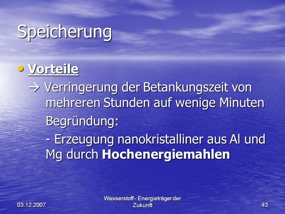 03.12.2007 Wasserstoff - Energieträger der Zukunft43 Speicherung Vorteile Vorteile Verringerung der Betankungszeit von mehreren Stunden auf wenige Min