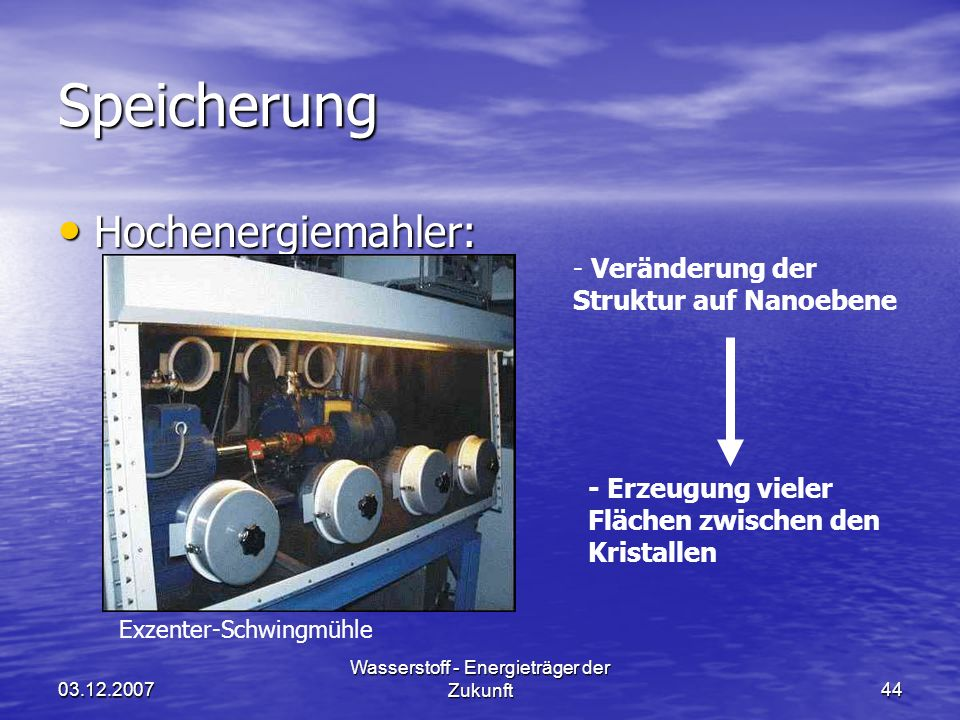 03.12.2007 Wasserstoff - Energieträger der Zukunft44 Speicherung Hochenergiemahler: Hochenergiemahler: Exzenter-Schwingmühle - Veränderung der Struktu