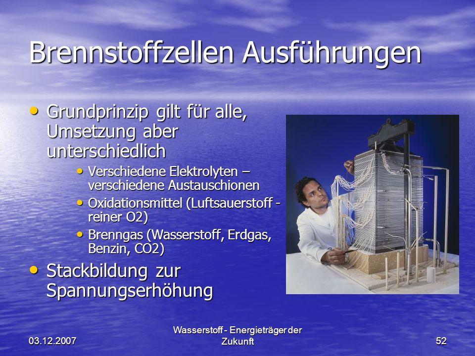 03.12.2007 Wasserstoff - Energieträger der Zukunft52 Brennstoffzellen Ausführungen Grundprinzip gilt für alle, Umsetzung aber unterschiedlich Grundpri