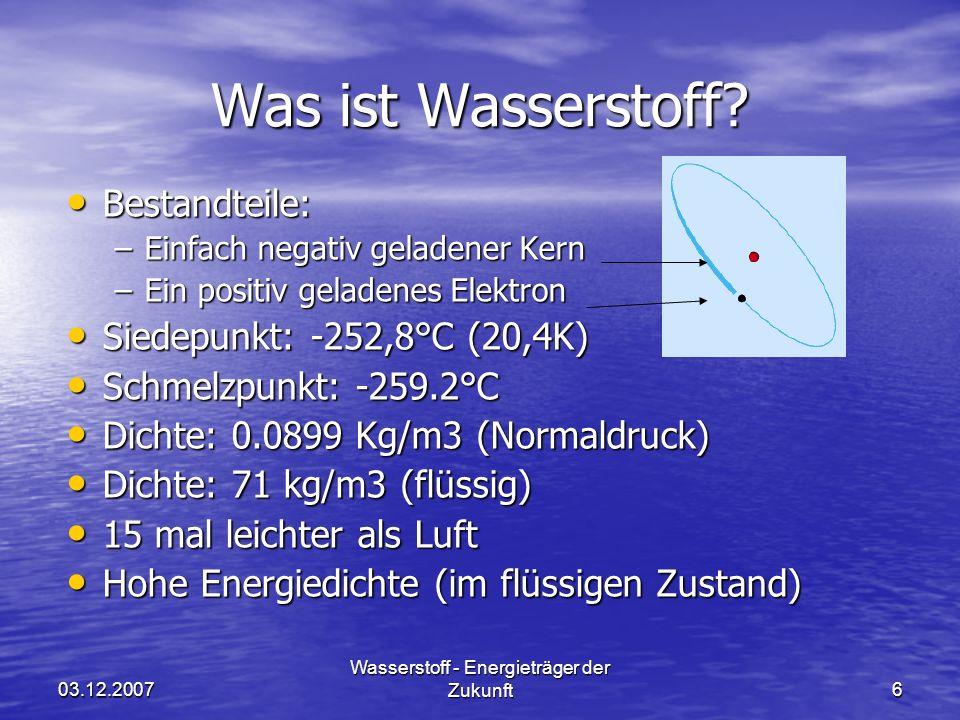 03.12.2007 Wasserstoff - Energieträger der Zukunft37 Speicherung Verfahren: Verfahren: GH 2 Trägermetall z.B.