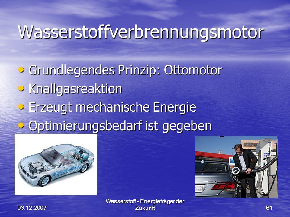 03.12.2007 Wasserstoff - Energieträger der Zukunft61 Wasserstoffverbrennungsmotor Grundlegendes Prinzip: Ottomotor Grundlegendes Prinzip: Ottomotor Kn