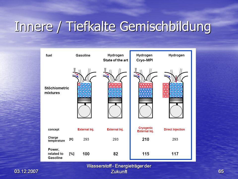 03.12.2007 Wasserstoff - Energieträger der Zukunft65 Innere / Tiefkalte Gemischbildung