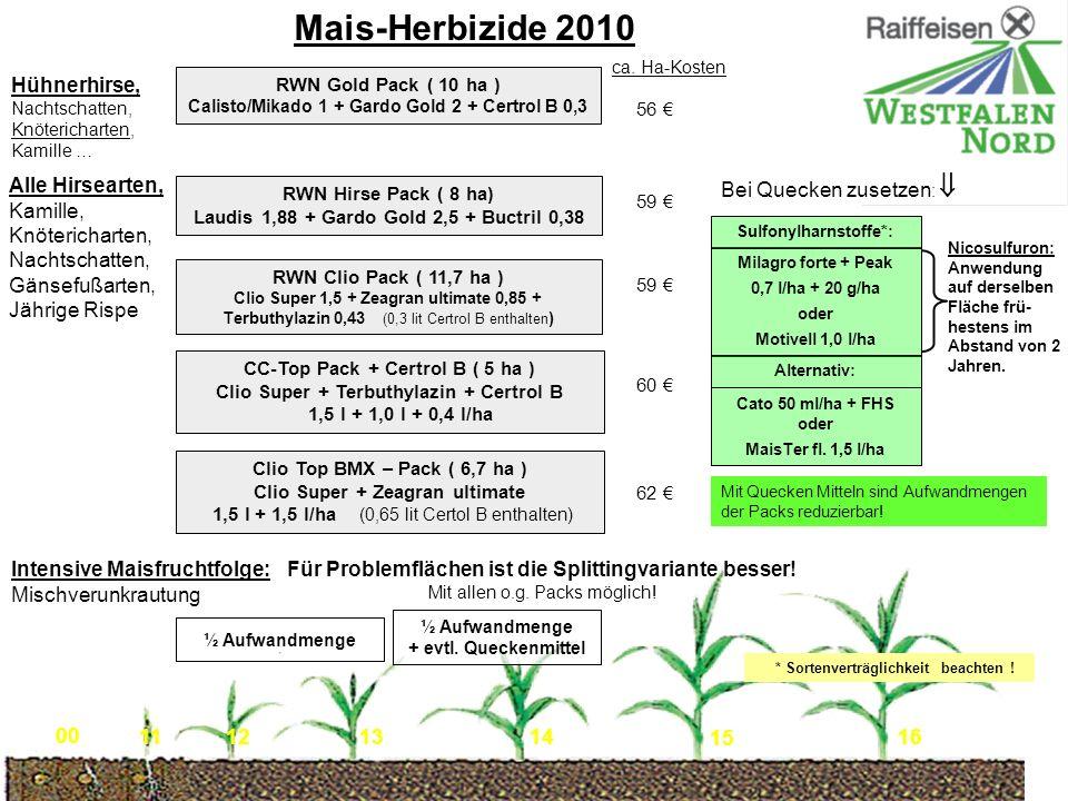 RWN Clio Pack ( 11,7 ha ) Clio Super 1,5 + Zeagran ultimate 0,85 + Terbuthylazin 0,43 (0,3 lit Certrol B enthalten ) Mais-Herbizide 2010 RWN Gold Pack