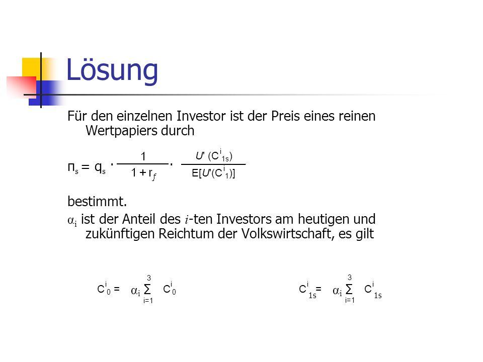 Lösung Für den einzelnen Investor ist der Preis eines reinen Wertpapiers durch π s = q s · · bestimmt. α i ist der Anteil des i -ten Investors am heut