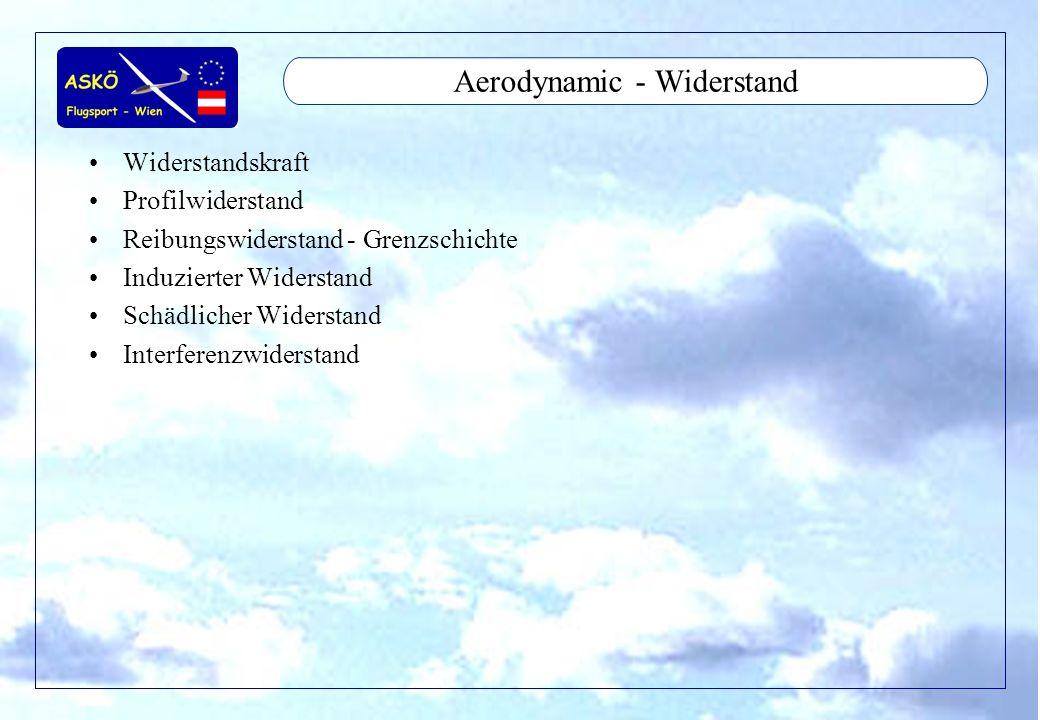 11/2001by Andreas Winkler17 Widerstand - Widerstandskraft W = Cw*q*S –W = Widerstandskraft –Cw = Gesamt Widerstandsbeiwert, abhängig von Anstellwinkel –q = Staudruck = ro*V 2 /s ro = Luftdichte –S = Fläche (Anströmfläche) –Cw = Reibung + Profil + Induziert + Interferenz