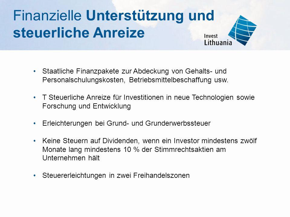 Staatliche Finanzpakete zur Abdeckung von Gehalts- und Personalschulungskosten, Betriebsmittelbeschaffung usw. T Steuerliche Anreize für Investitionen