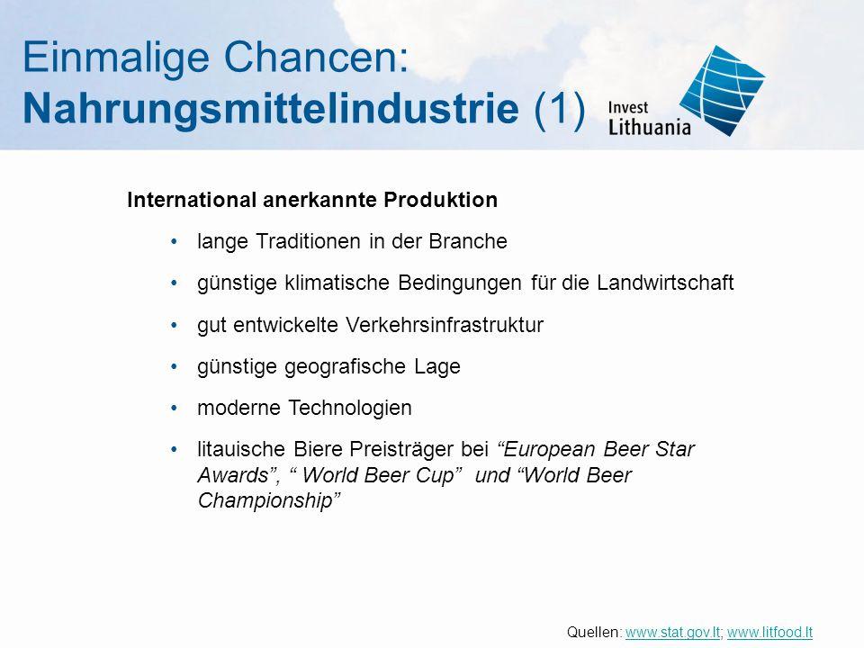 Einmalige Chancen: Nahrungsmittelindustrie (1) International anerkannte Produktion lange Traditionen in der Branche günstige klimatische Bedingungen f
