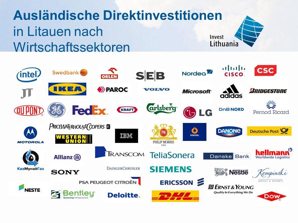 Ausländische Direktinvestitionen in Litauen nach Wirtschaftssektoren