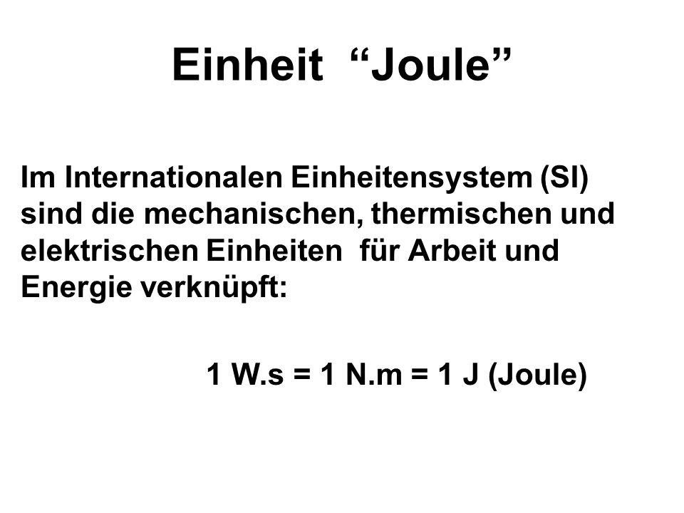 Einheit Joule Im Internationalen Einheitensystem (SI) sind die mechanischen, thermischen und elektrischen Einheiten für Arbeit und Energie verknüpft: 1 W.s = 1 N.m = 1 J (Joule)