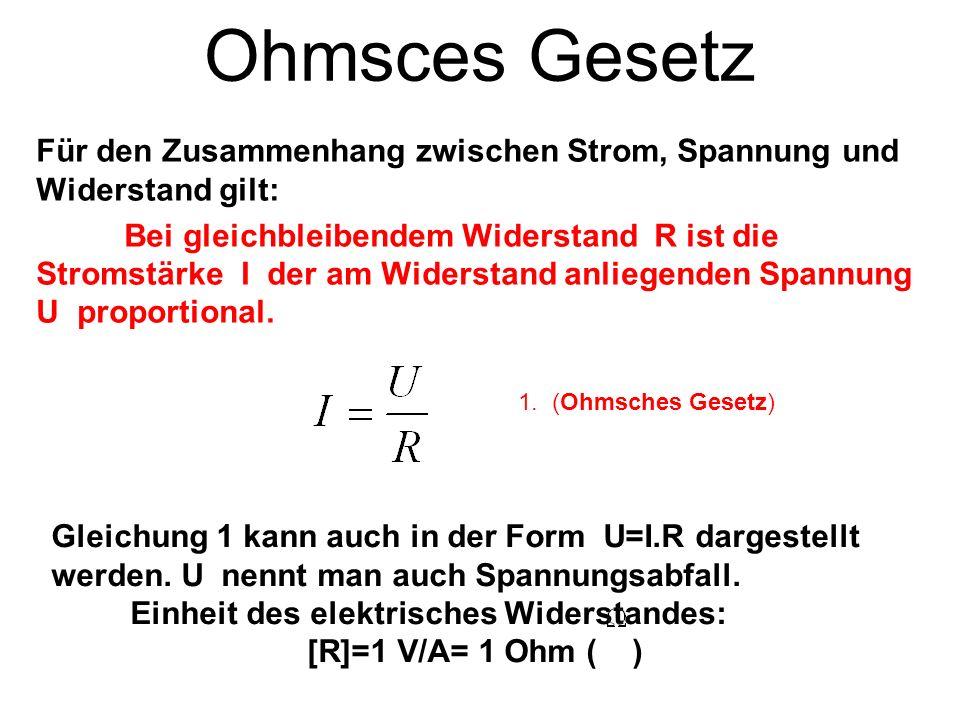 Ohmsces Gesetz Für den Zusammenhang zwischen Strom, Spannung und Widerstand gilt: Bei gleichbleibendem Widerstand R ist die Stromstärke I der am Wider
