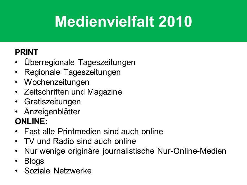 Medienvielfalt 2010 PRINT Überregionale Tageszeitungen Regionale Tageszeitungen Wochenzeitungen Zeitschriften und Magazine Gratiszeitungen Anzeigenblä