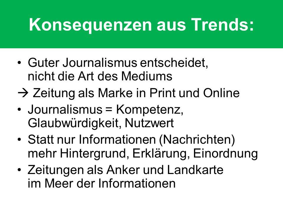 Konsequenzen aus Trends: Guter Journalismus entscheidet, nicht die Art des Mediums Zeitung als Marke in Print und Online Journalismus = Kompetenz, Glaubwürdigkeit, Nutzwert Statt nur Informationen (Nachrichten) mehr Hintergrund, Erklärung, Einordnung Zeitungen als Anker und Landkarte im Meer der Informationen