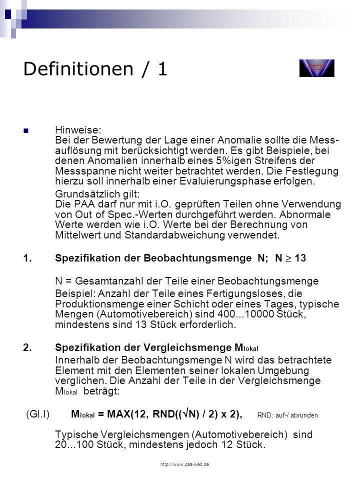 http://www.paa-web.de Definitionen / 1 Hinweise: Bei der Bewertung der Lage einer Anomalie sollte die Mess- auflösung mit berücksichtigt werden. Es gi