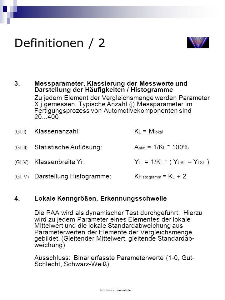 http://www.paa-web.de Definitionen / 2 3. Messparameter, Klassierung der Messwerte und Darstellung der Häufigkeiten / Histogramme Zu jedem Element der