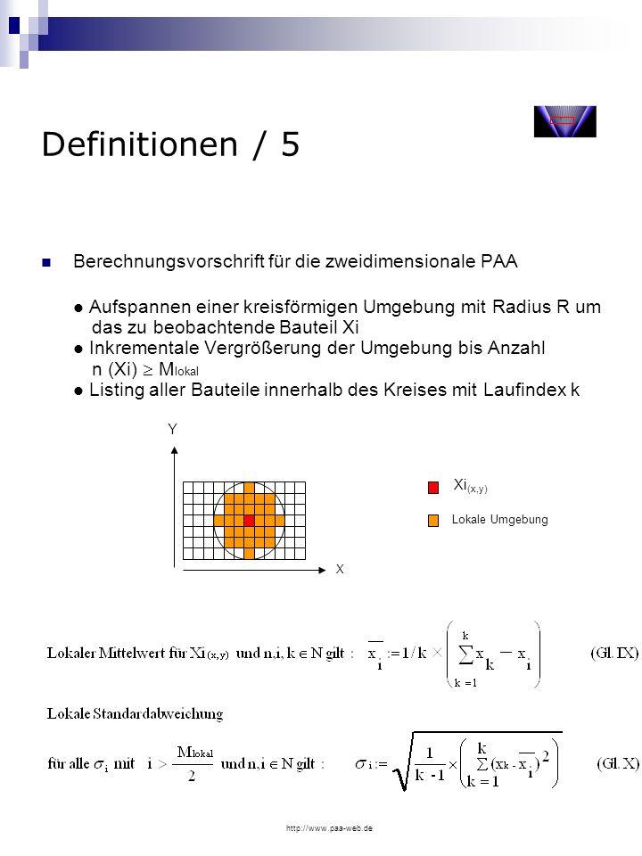 http://www.paa-web.de Definitionen / 5 Berechnungsvorschrift für die zweidimensionale PAA Aufspannen einer kreisförmigen Umgebung mit Radius R um das