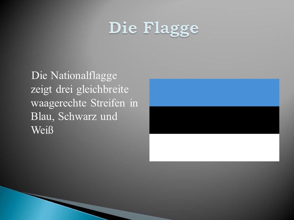 Die Nationalflagge zeigt drei gleichbreite waagerechte Streifen in Blau, Schwarz und Weiß