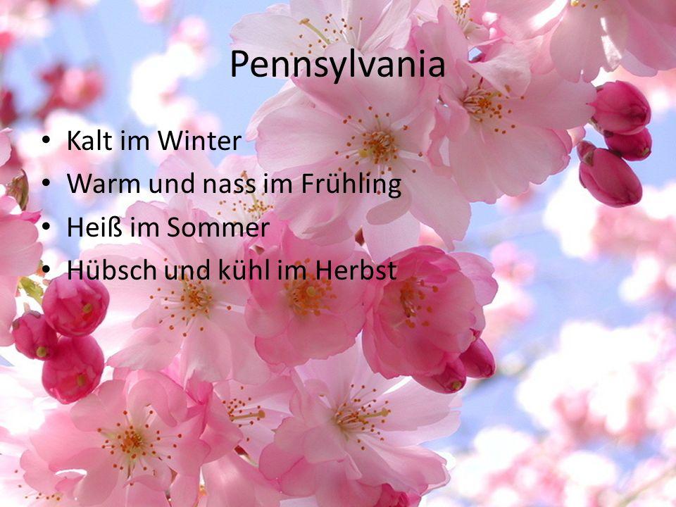 Pennsylvania Kalt im Winter Warm und nass im Frühling Heiß im Sommer Hübsch und kühl im Herbst