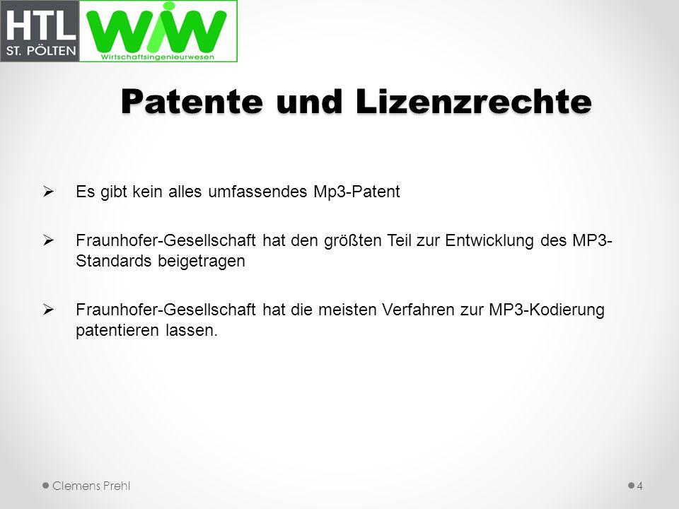 Patente und Lizenzrechte Es gibt kein alles umfassendes Mp3-Patent Fraunhofer-Gesellschaft hat den größten Teil zur Entwicklung des MP3- Standards bei