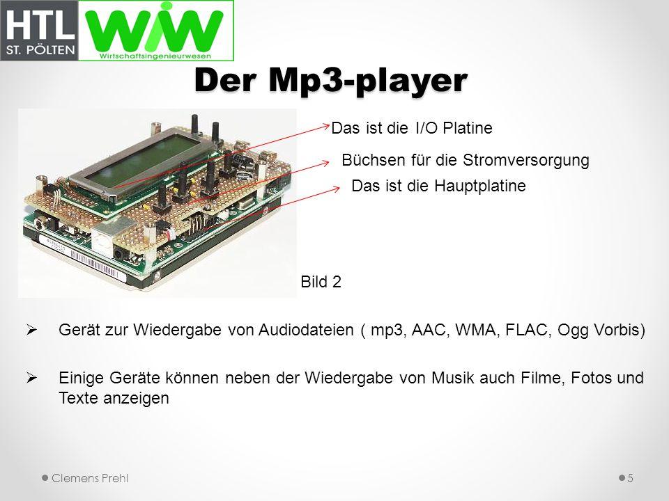 Der Mp3-player Das ist die I/O Platine Büchsen für die Stromversorgung Das ist die Hauptplatine Bild 2 Gerät zur Wiedergabe von Audiodateien ( mp3, AA