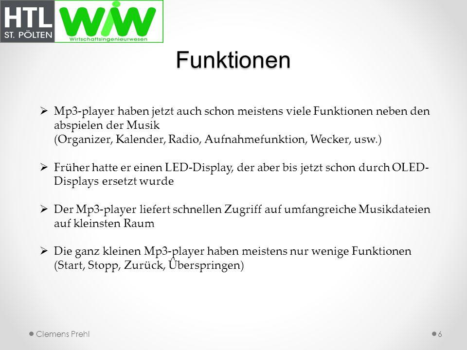Funktionen 6 Mp3-player haben jetzt auch schon meistens viele Funktionen neben den abspielen der Musik (Organizer, Kalender, Radio, Aufnahmefunktion,
