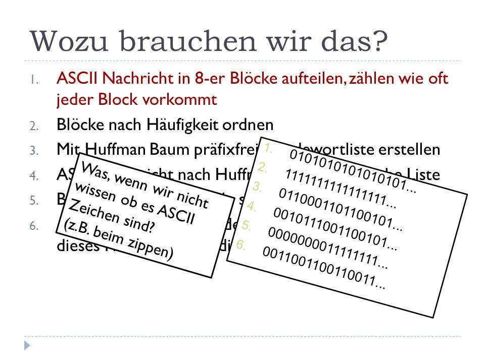 Wozu brauchen wir das? 1. ASCII Nachricht in 8-er Blöcke aufteilen, zählen wie oft jeder Block vorkommt 2. Blöcke nach Häufigkeit ordnen 3. Mit Huffma