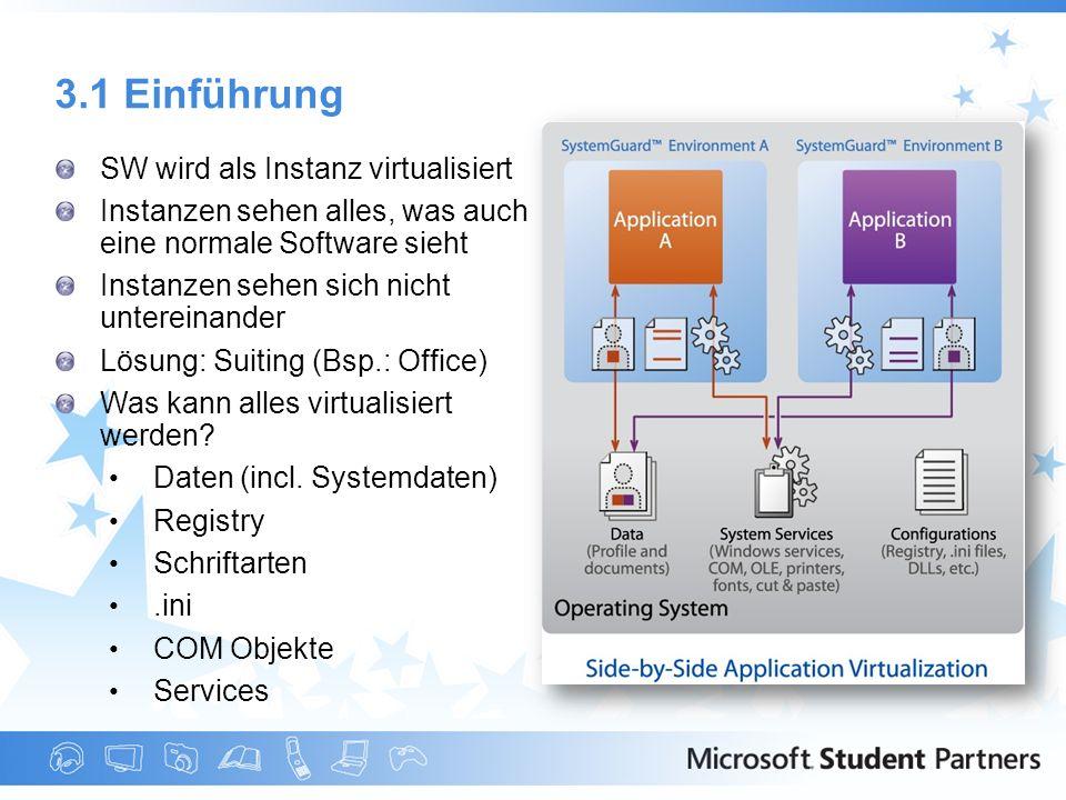 3.1 Einführung SW wird als Instanz virtualisiert Instanzen sehen alles, was auch eine normale Software sieht Instanzen sehen sich nicht untereinander