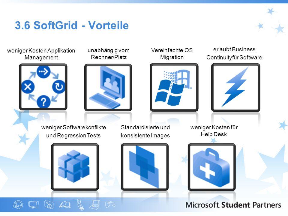 3.6 SoftGrid - Vorteile weniger Kosten Applikation Management unabhängig vom Rechner/Platz erlaubt Business Continuityfür Software Vereinfachte OS Mig