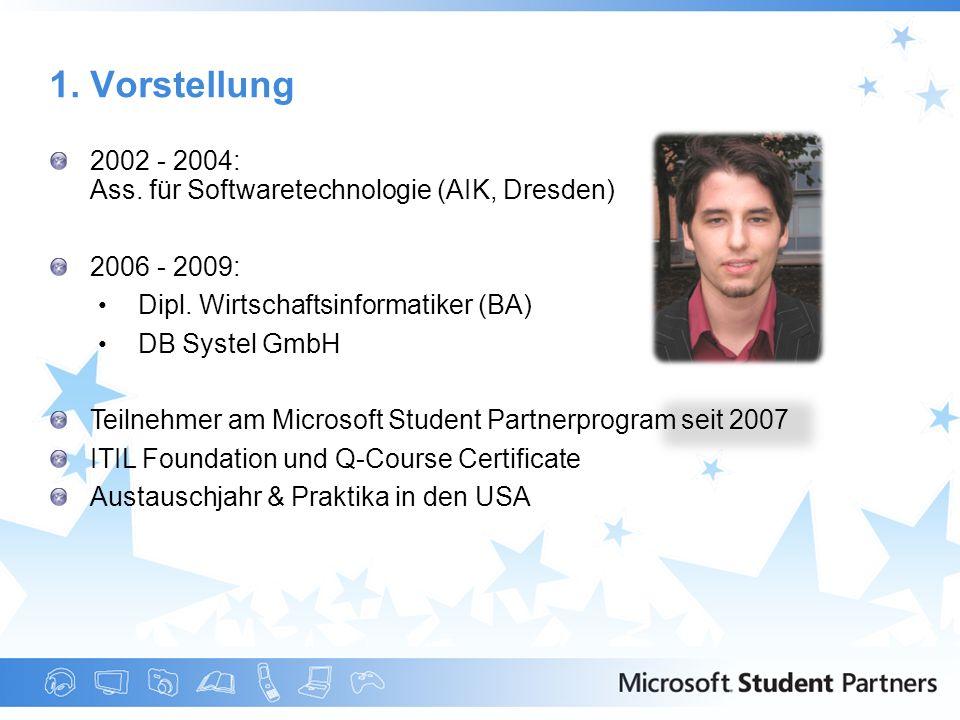 2002 - 2004: Ass. für Softwaretechnologie (AIK, Dresden) 2006 - 2009: Dipl. Wirtschaftsinformatiker (BA) DB Systel GmbH Teilnehmer am Microsoft Studen