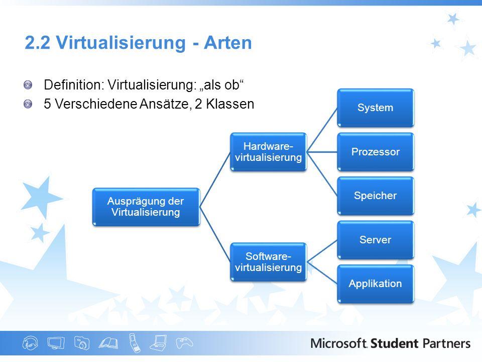 2.2 Virtualisierung - Arten Definition: Virtualisierung: als ob 5 Verschiedene Ansätze, 2 Klassen Ausprägung der Virtualisierung Hardware- virtualisie