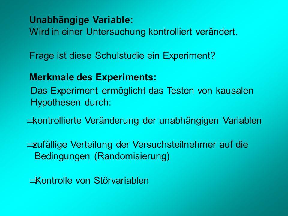 Unabhängige Variable: Wird in einer Untersuchung kontrolliert verändert.