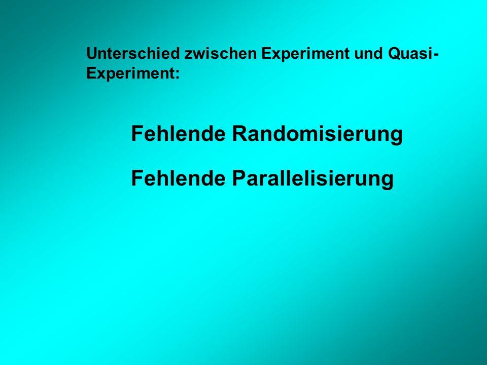 Unterschied zwischen Experiment und Quasi- Experiment: Fehlende Randomisierung Fehlende Parallelisierung