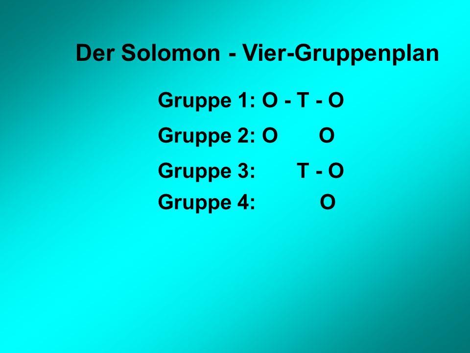 Der Solomon - Vier-Gruppenplan Gruppe 1: O - T - O Gruppe 2: O O Gruppe 3: T - O Gruppe 4: O