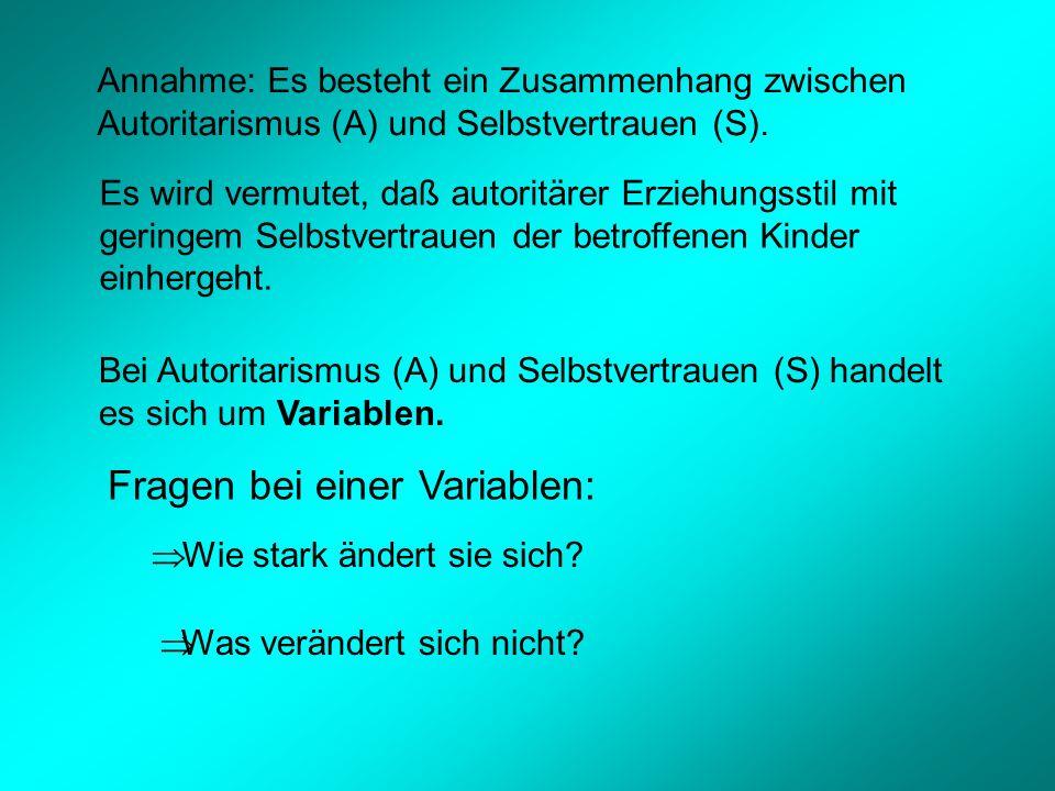 Annahme: Es besteht ein Zusammenhang zwischen Autoritarismus (A) und Selbstvertrauen (S).
