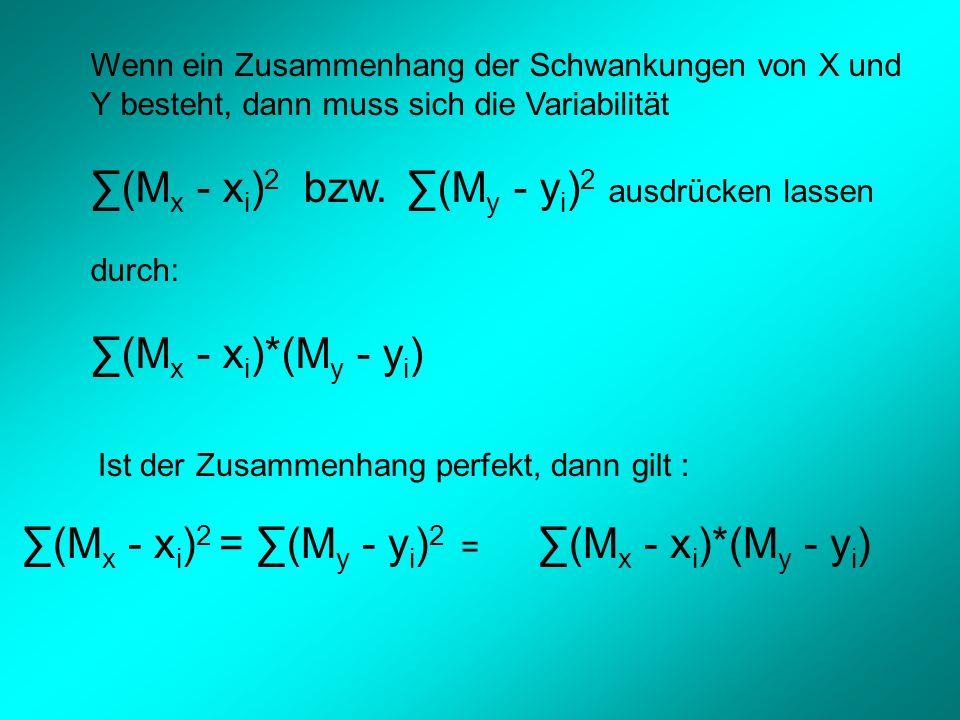 Wenn ein Zusammenhang der Schwankungen von X und Y besteht, dann muss sich die Variabilität (M x - x i ) 2 bzw.
