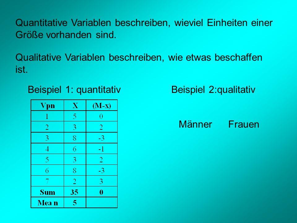 Quantitative Variablen beschreiben, wieviel Einheiten einer Größe vorhanden sind.