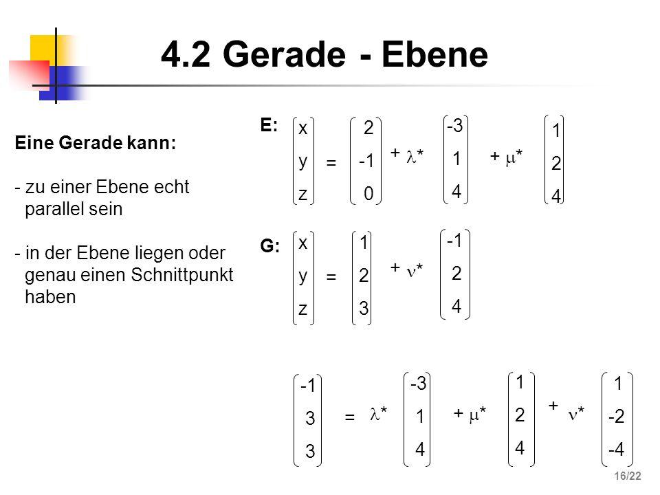 4.2 Gerade - Ebene 124124 xyzxyz = 2 0 + * -3 1 4 + * E: xyzxyz = 123123 + * 2 4 G: = 3 * -3 1 4 + * 124124 + * 1 -2 -4 Eine Gerade kann: - zu einer E